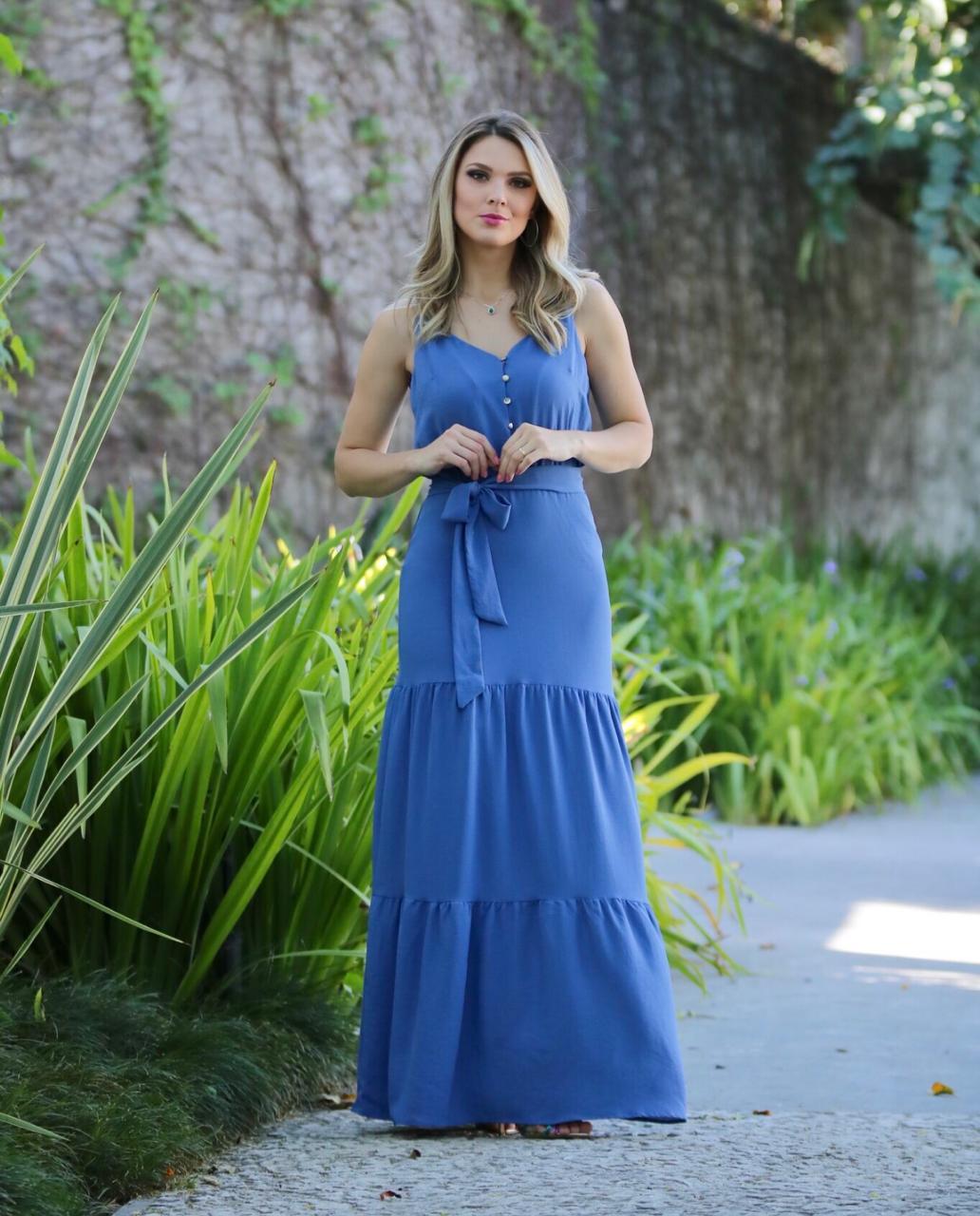 Vestido  Alana  Crepe  Longo + Faixa