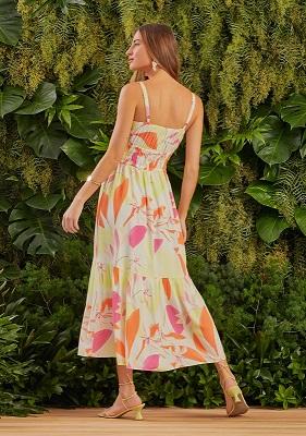 Vestido Alexa Viscose Floral (Forro) Detalhe Lastex Cintura  Alcinha C/ Regulador + Amarração