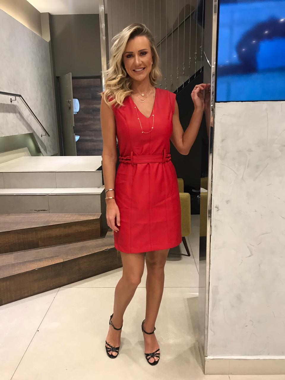 Vestido Alice Couro Cores Vermelho e Preto