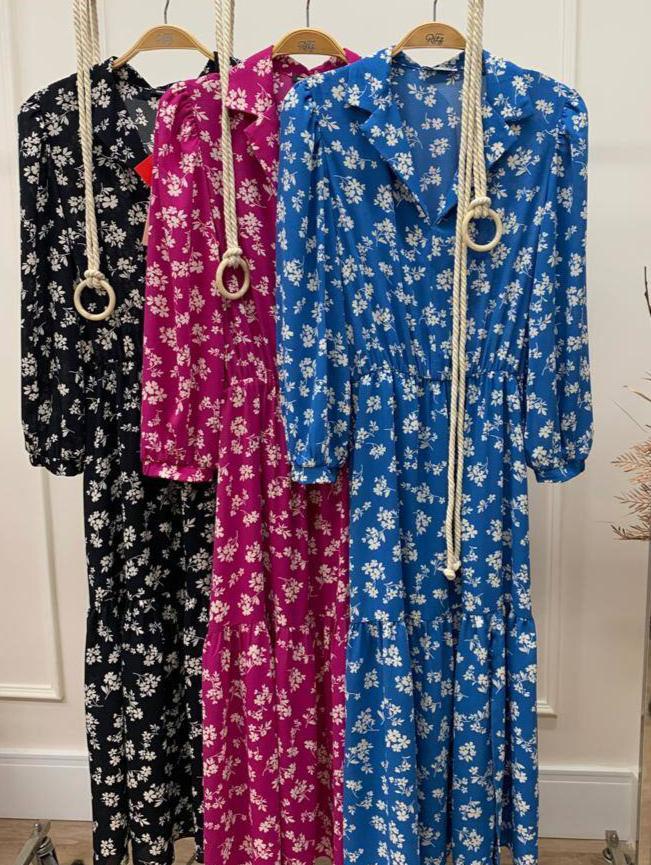 Vestido Alice Midi Crepe Floral (Forro) Detalhe Elástico Cintura Fenda Lateral + Cinto Corda