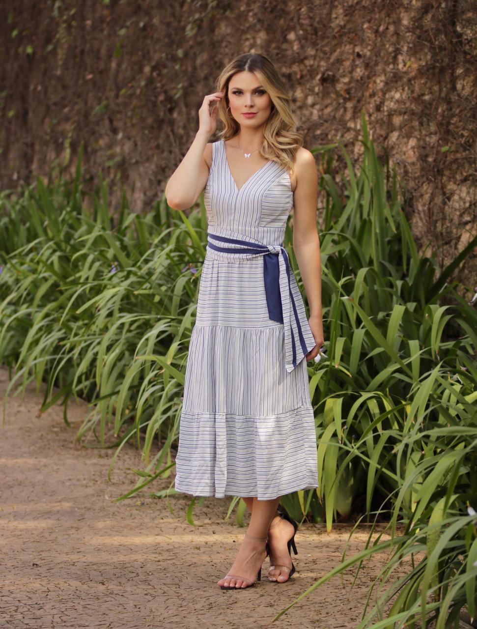 Vestido Alice  Viscose Midi Stripes Detalhe  Amarração