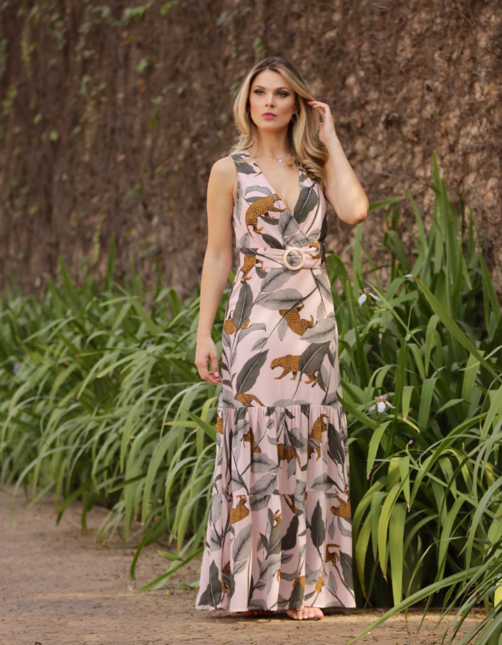 Vestido   Aline  Crepe Animal Longo + Cinto (Forrado)