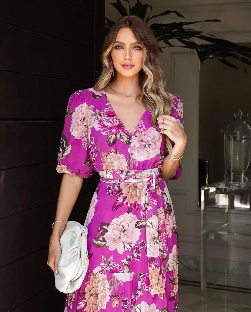 Vestido Aline Crepe Floral  MangasE Botões Forrados