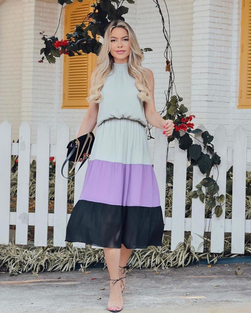 Vestido Aline Crepe Tricolor