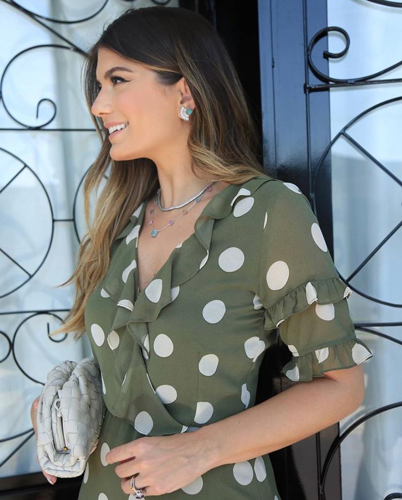 Vestido Ariane Crepe Midi Poa