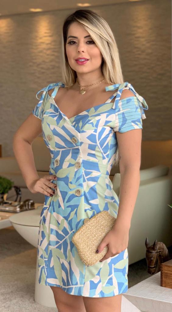Vestido  Aline Linho Print Transpasse Botões com bojo