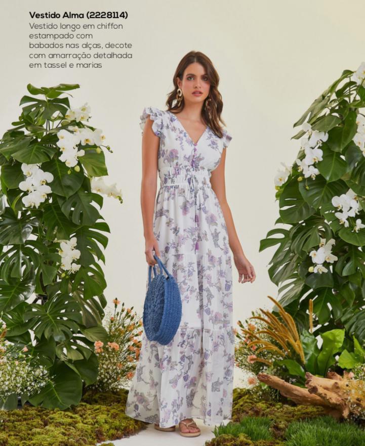 Vestido Alma Chiffon Estampa Floral Detalhe Babados Decote Amarração Tassel Marias