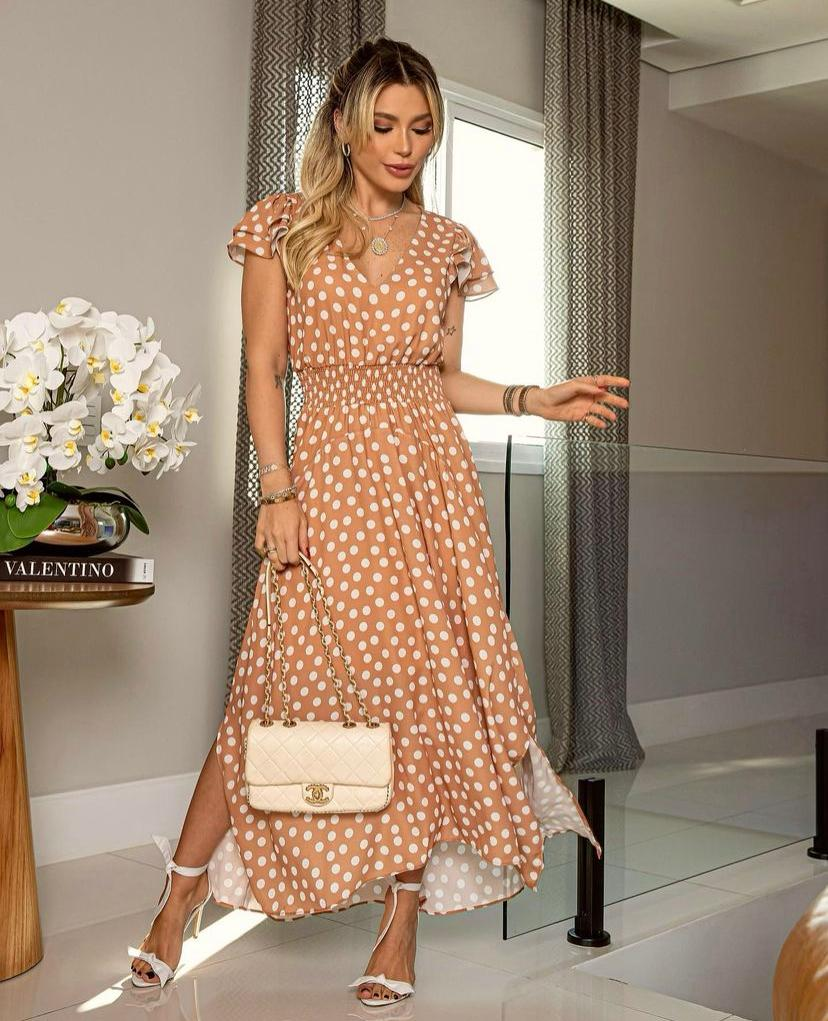 Vestido Alma Crepe Print Poa