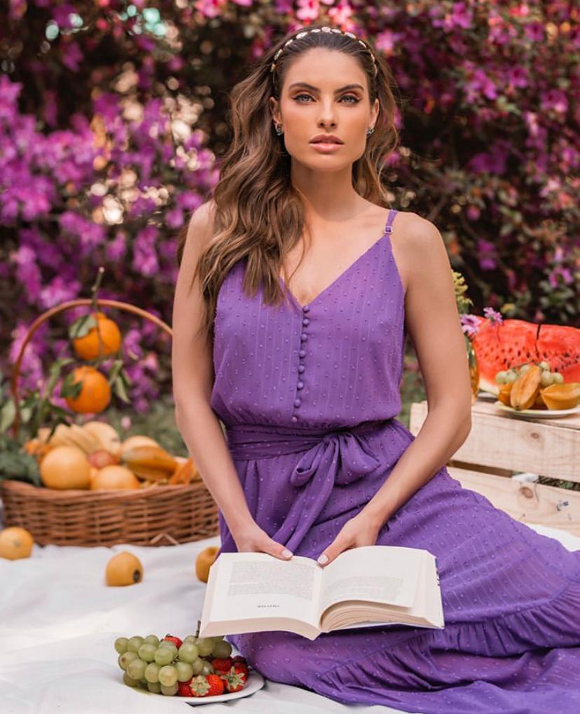 Vestido Amalia Crepe Com Faixa