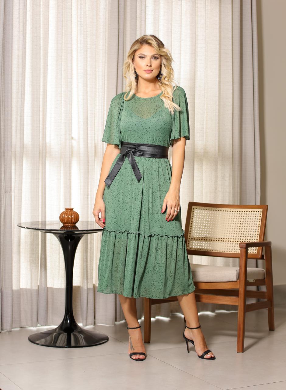 Vestido  Amanda Tule Poa com Forro (Não Acompanha Cinto)