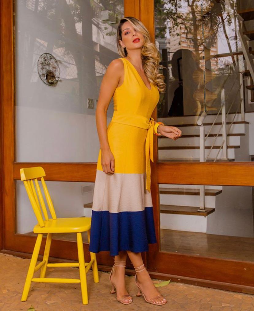 Vestido Amanda Viscose +Poliamida Com Faixa (Forro)