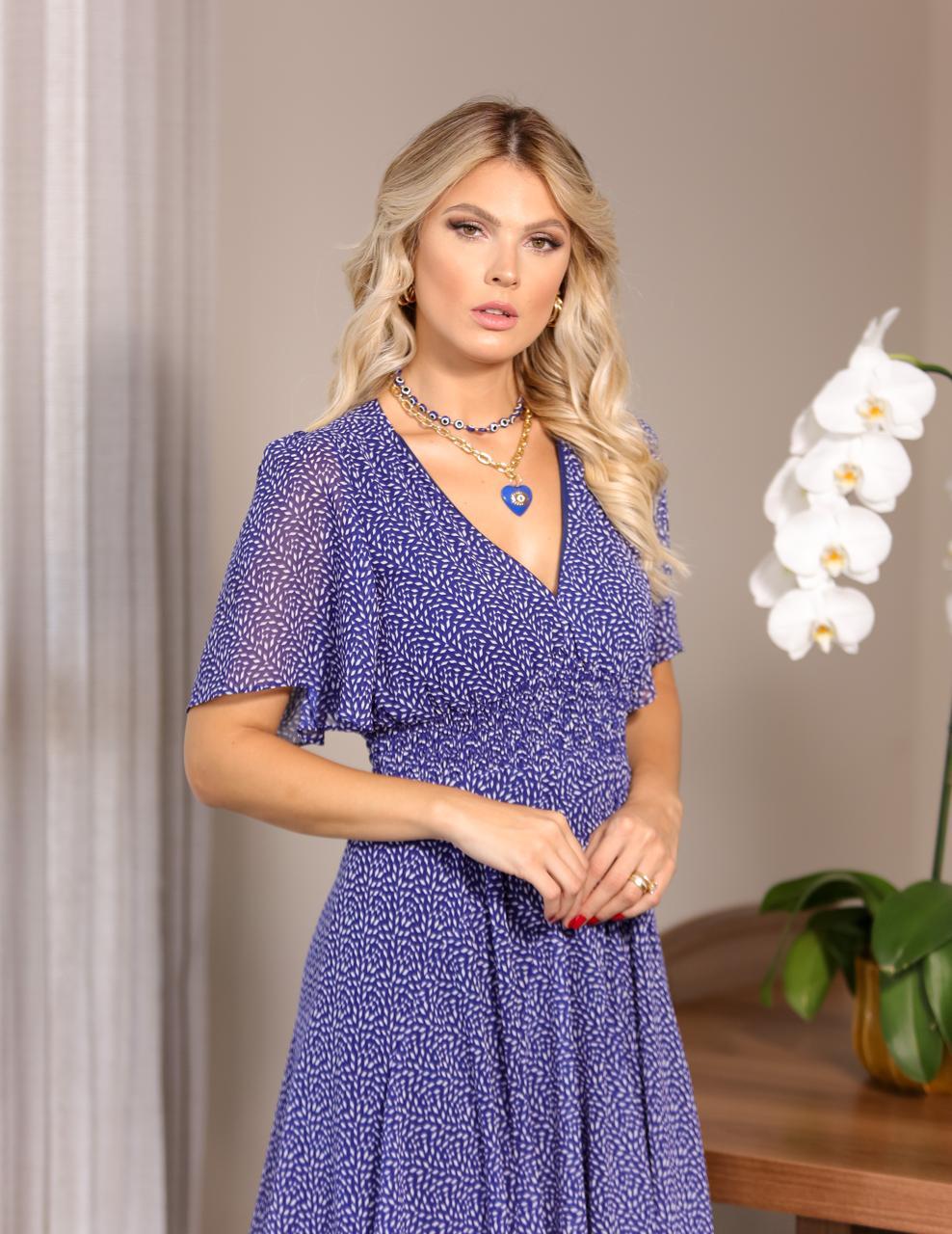 Vestido  Analis Chiffon   Detalhe Lastex na Cintura