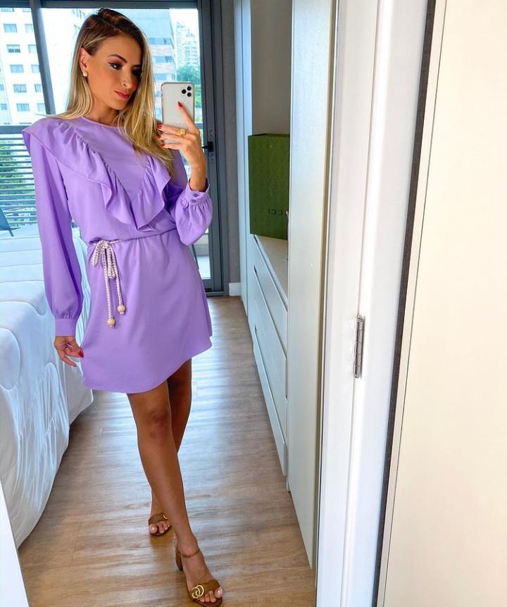 Vestido Angela Crepe Detalhe Babado + Cinto Corda Bicolor