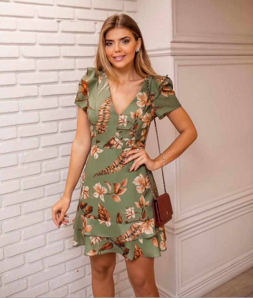 Vestido Angelica Crepe Babado Lirio Print