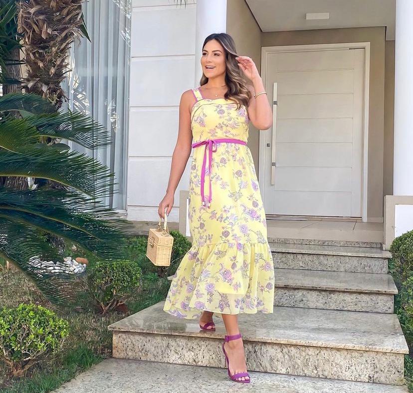 Vestido Angeline Midi Chiffon Decote Quadrado Faixa Para Amarração