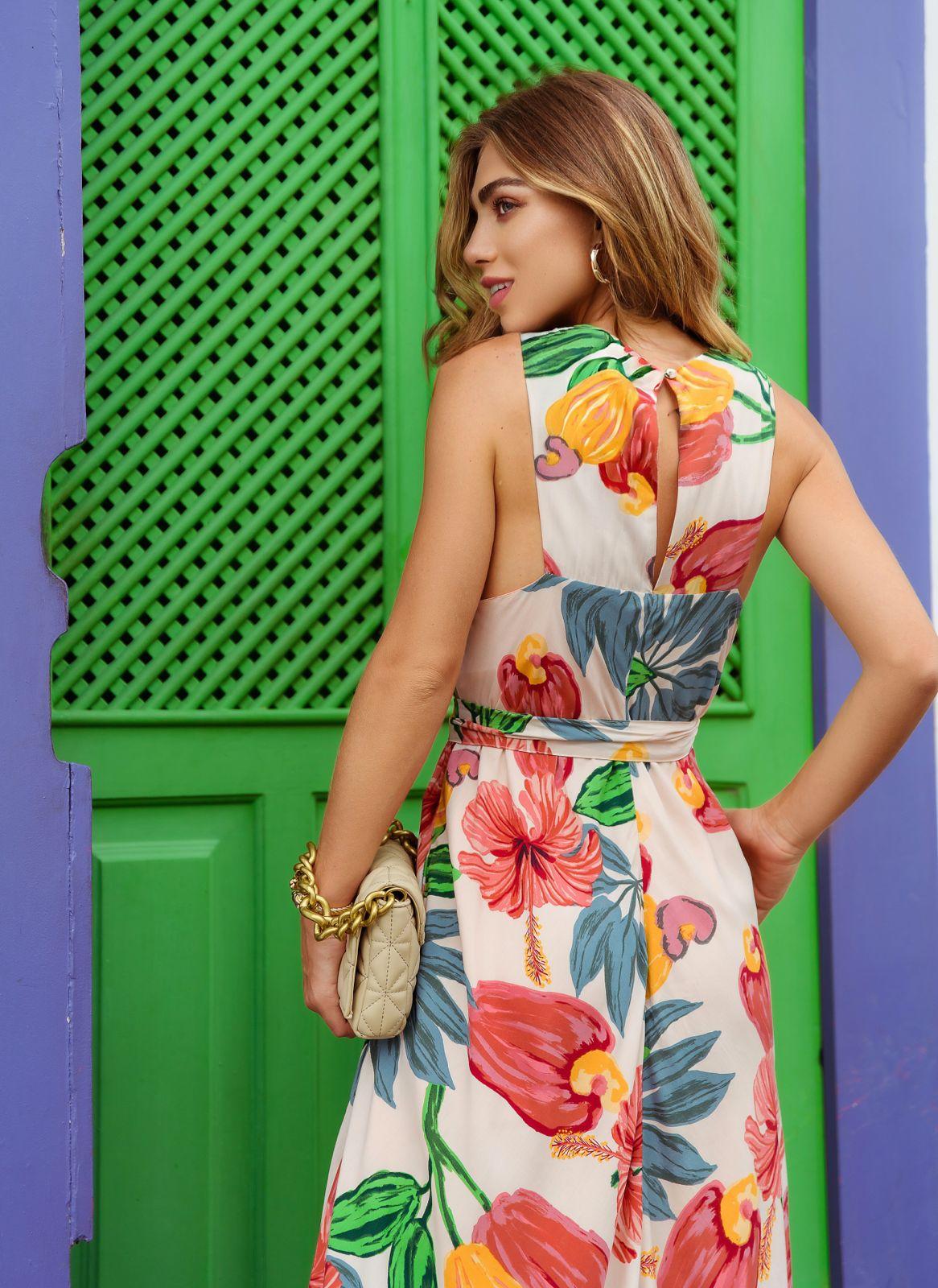 Vestido Angra Viscose Floral Detalhe Decote Redondo + Faixa Amarração