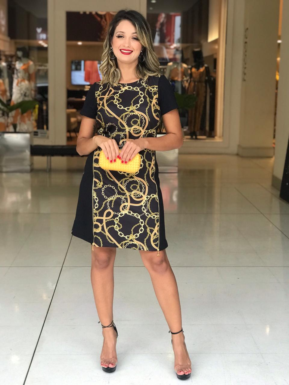 Vestido Anita Alfaiataria Detalhe Ziperes Print Correntes