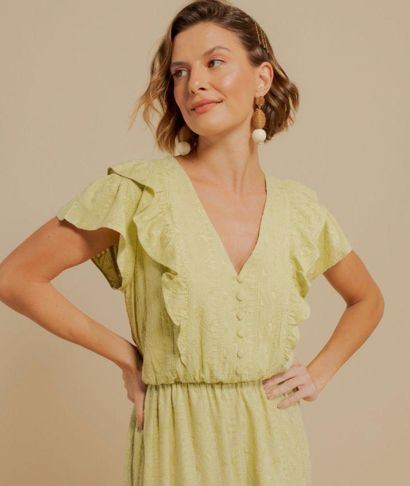 Vestido Anita Midi Viscose Bordada