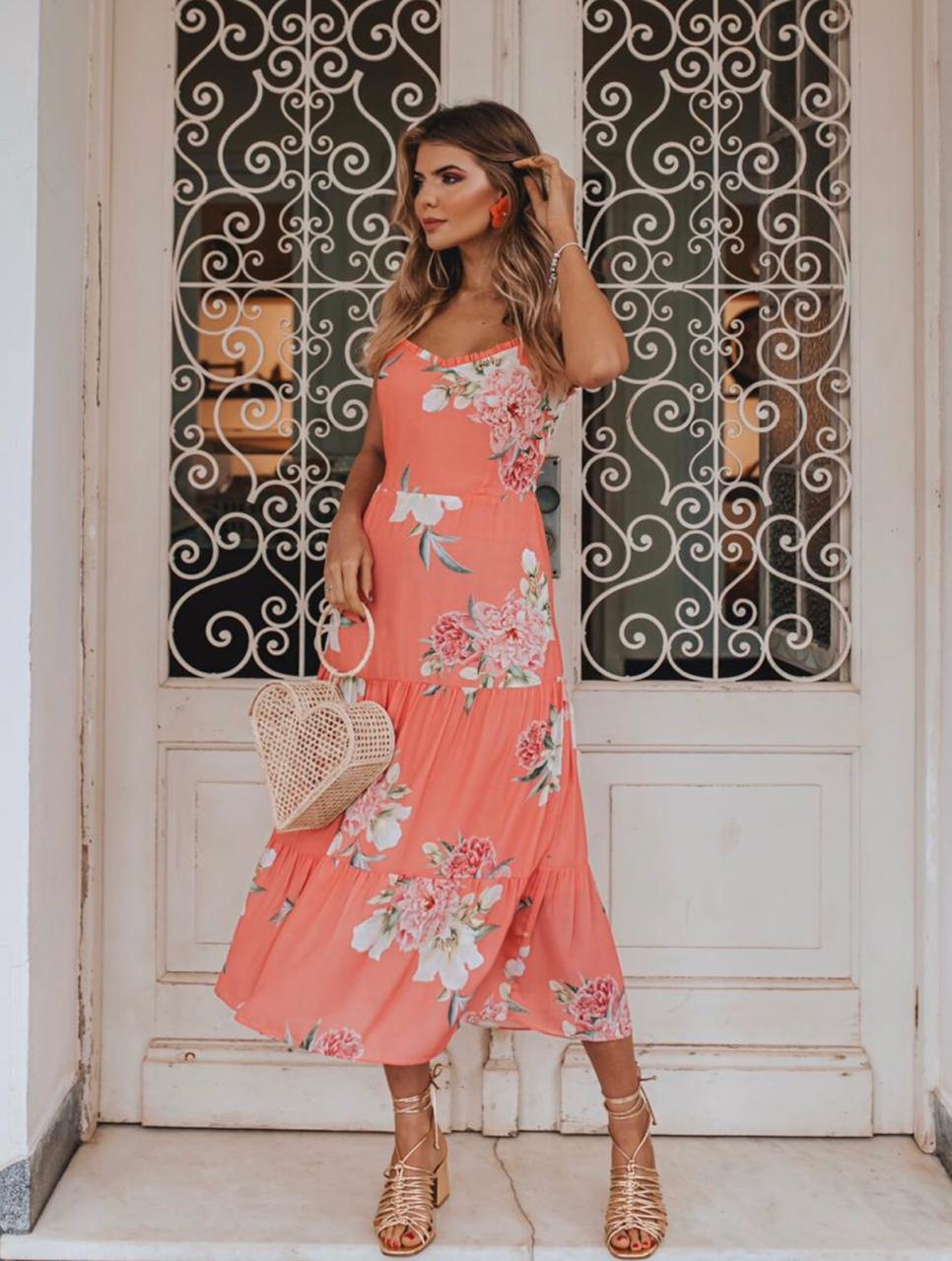 Vestido Anne Crepe Floral Alça Reguláveis