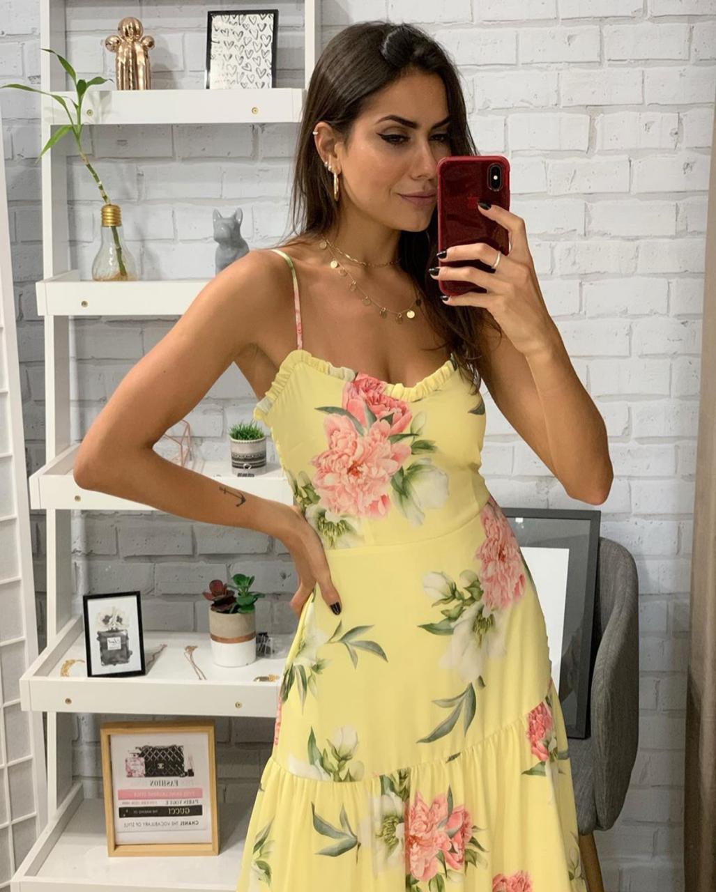 Vestido Anne Crepe Floral Alça Reguláveis AMARELO