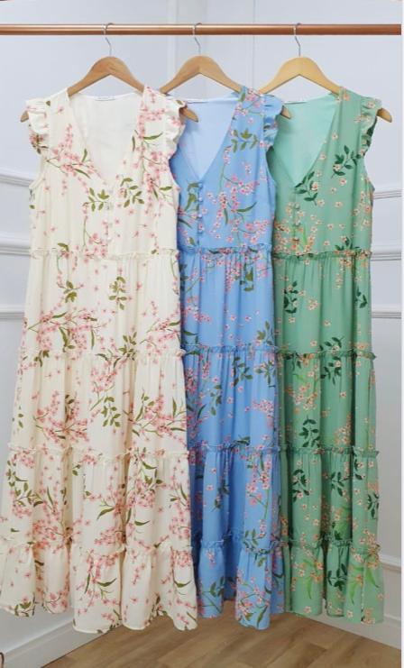 Vestido  Antonela Crepe Floral  em Camadas