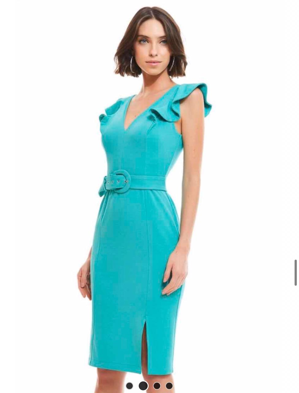 Vestido Milena Crepe  Alfaiataria Midi + Cinto 4% Elastano