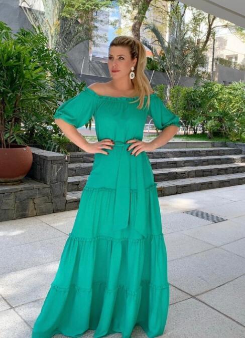 Vestido  Angelica Crepe  Ombro a Ombro + Faixa