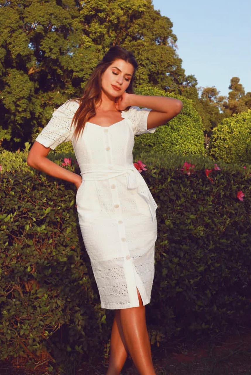 Vestido Madri  Laise Mid  MG Curta  Bufante + Faixa