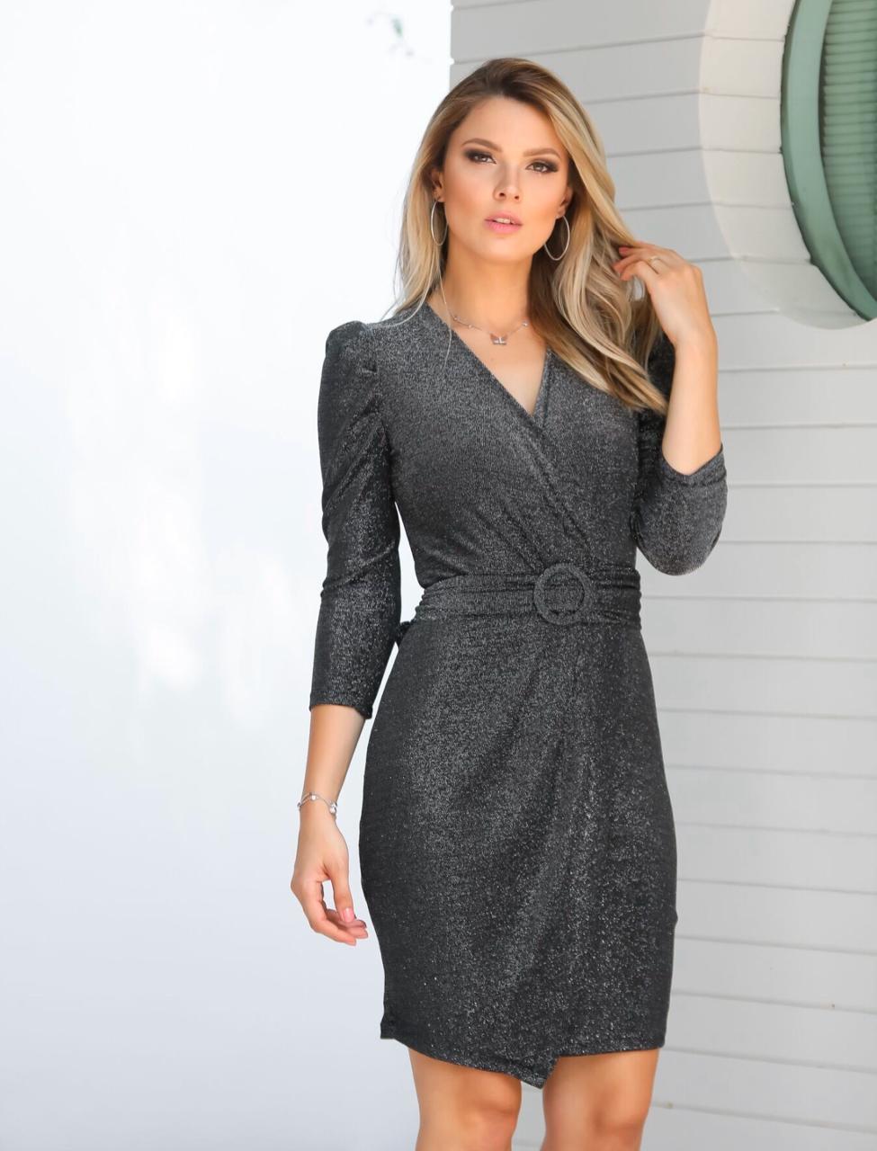 Vestido  Aramodu Lurex 5 % Elastano + Cinto