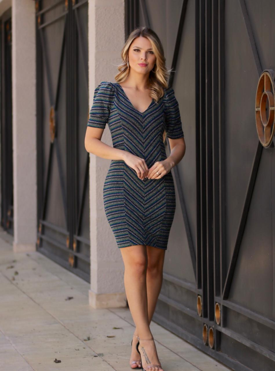 Vestido  Nicole  Midi Lurex