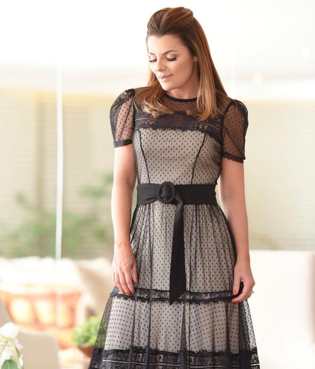 Vestido Juliana  Tule  Mdi  C/Cinto