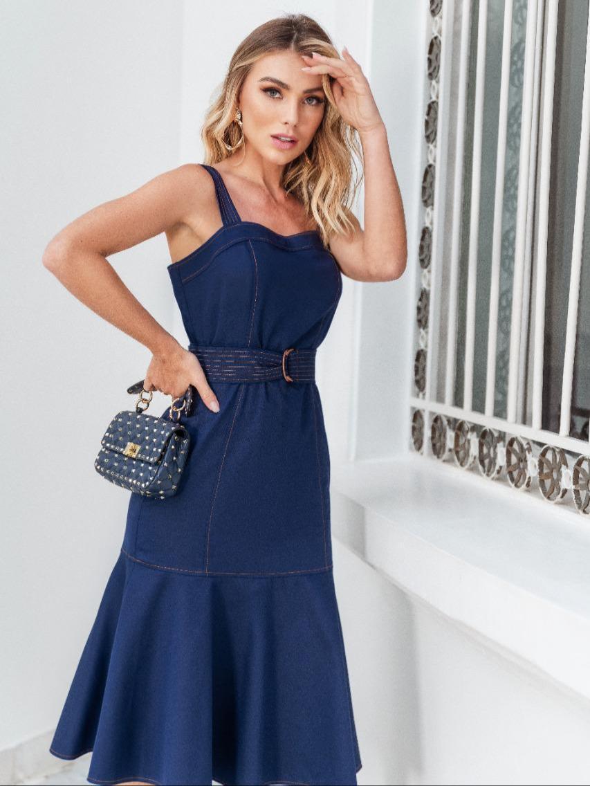 Vestido Ari Sarja Midi 3% Elastano (Forro) Detalhe Babados + Cinto
