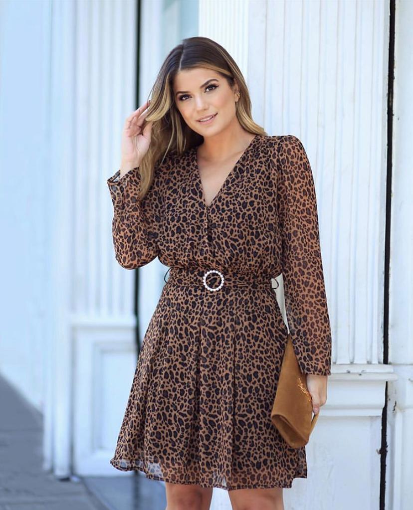 Vestido Ariane Crepe Animal Print MG/Longa C/Cinto