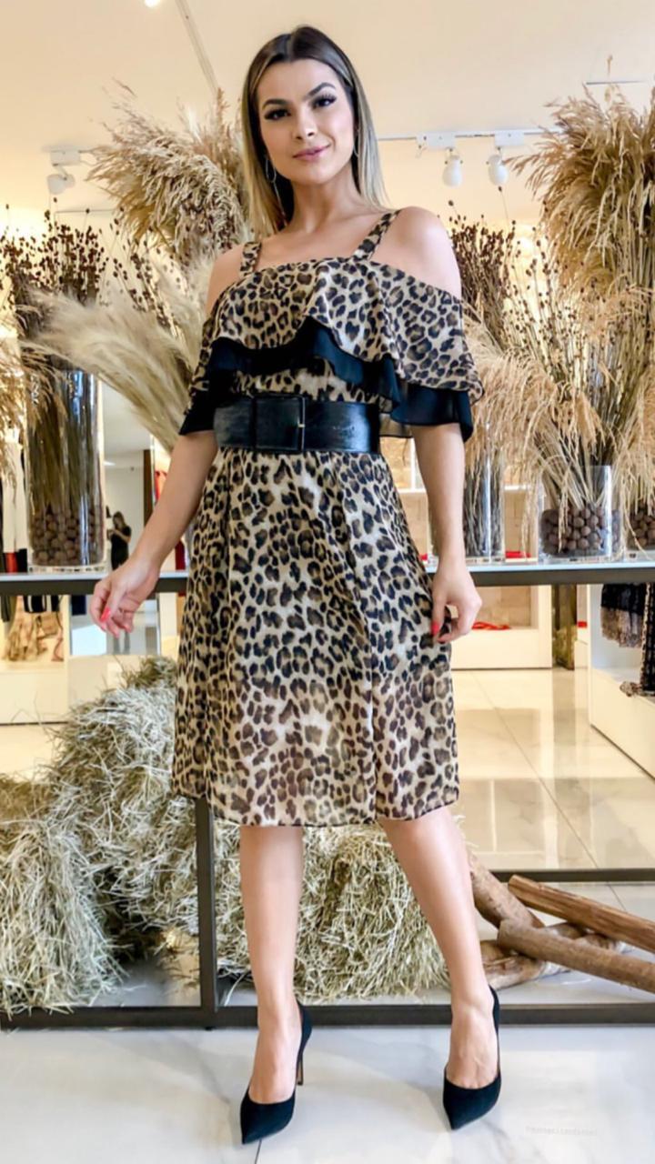 Vestido Ariane Crepe animalprint (Não Acompanha Cinto)
