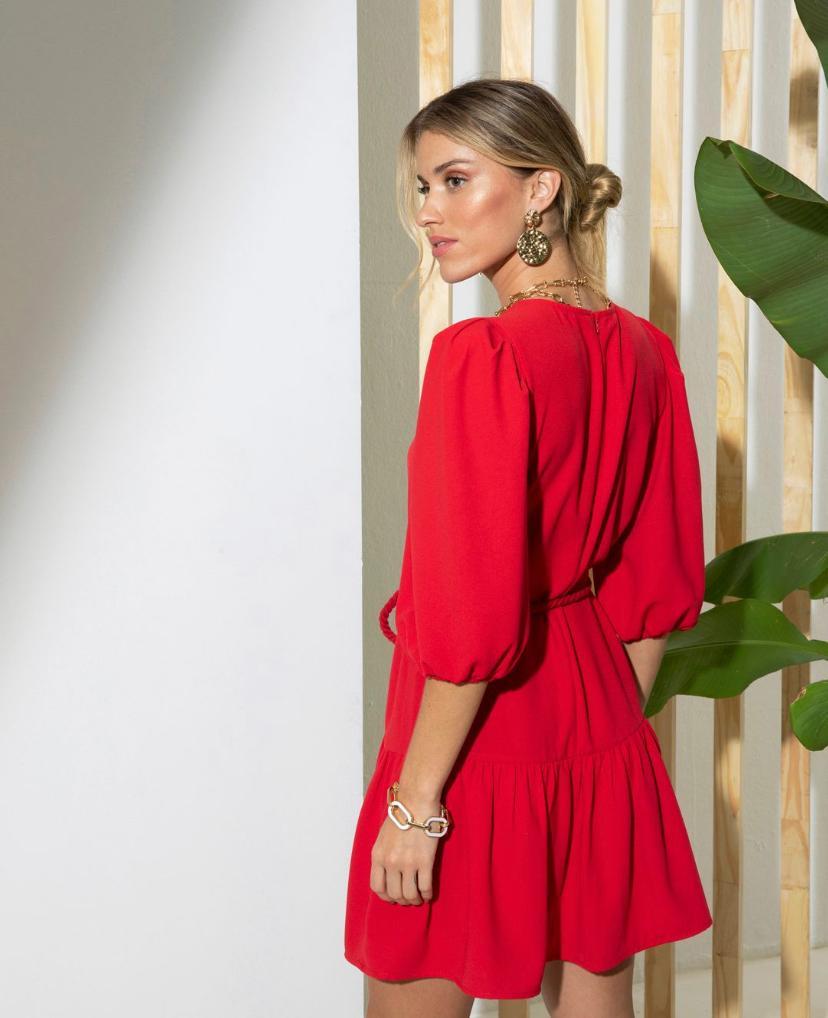 Vestido Ariane Crepe Com  6% Elastano + Cinto Corda