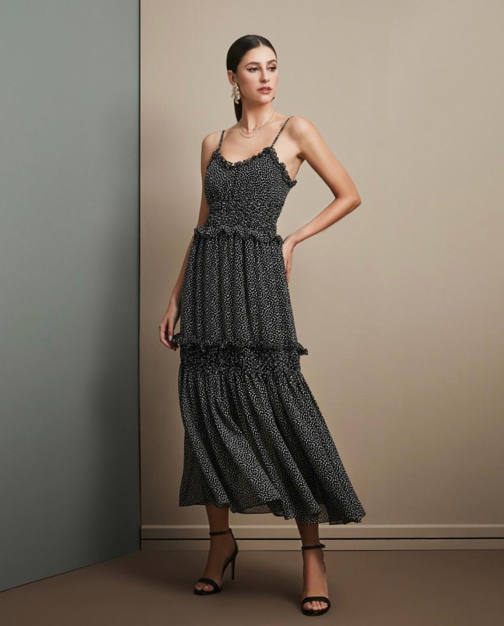 Vestido Esmeral Crepe Estamapa Geometrica