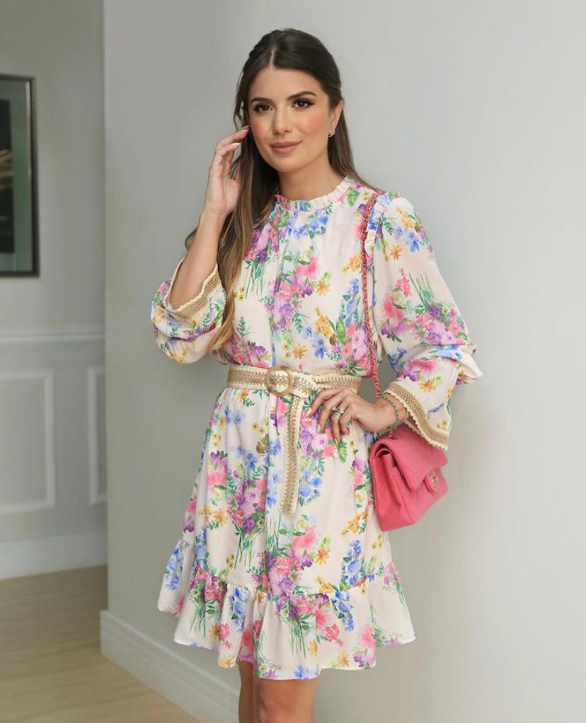 Vestido Ariane Crepe Floral + Cinto