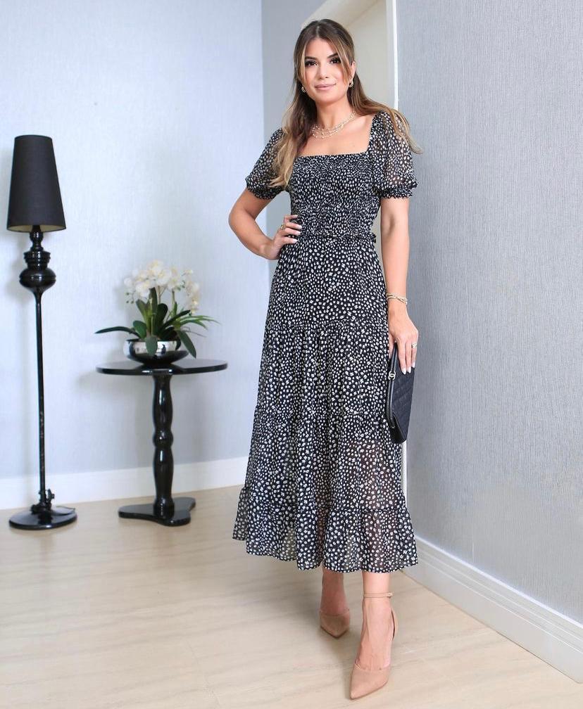 Vestido Manuela Crepe Floral  Detalhe Lastex