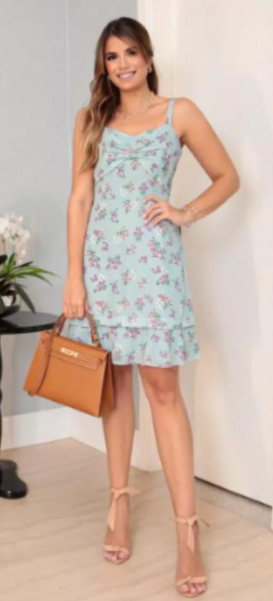 Vestido Ariane Crepe Floral Liberty Detalhe Babado