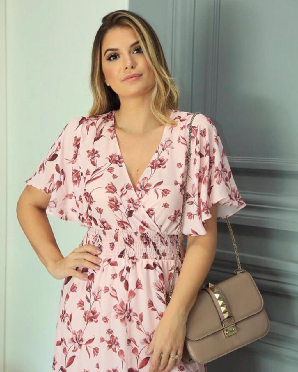 Vestido Ariane Crepe Floral Print Botões