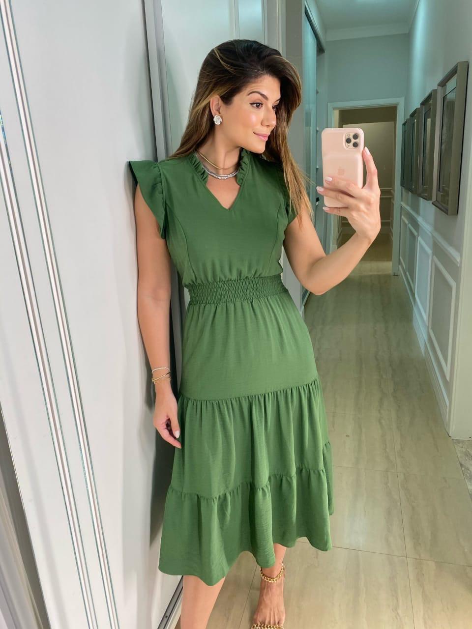 Vestido Ariane Crepe (Forro) Detalhe Babados