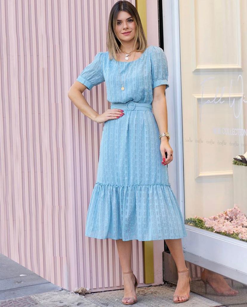 Vestido Ariane Crepe Mid com Marias c/ Cinto