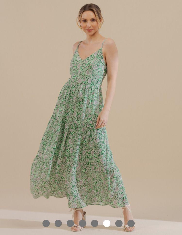 Vestido Ariane Crepe Midi Estampa Floral Alcinha Dupla