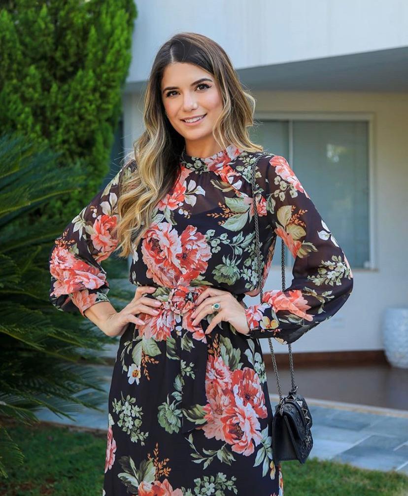 Vestido Ariane Crepe Midi Floral