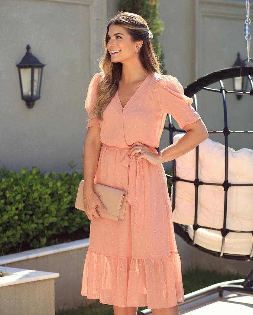 Vestido Ariane Crepe Midi Transpasse Decote