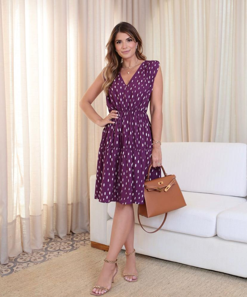 Vestido Ariane Crepe Poa  5%Elastano
