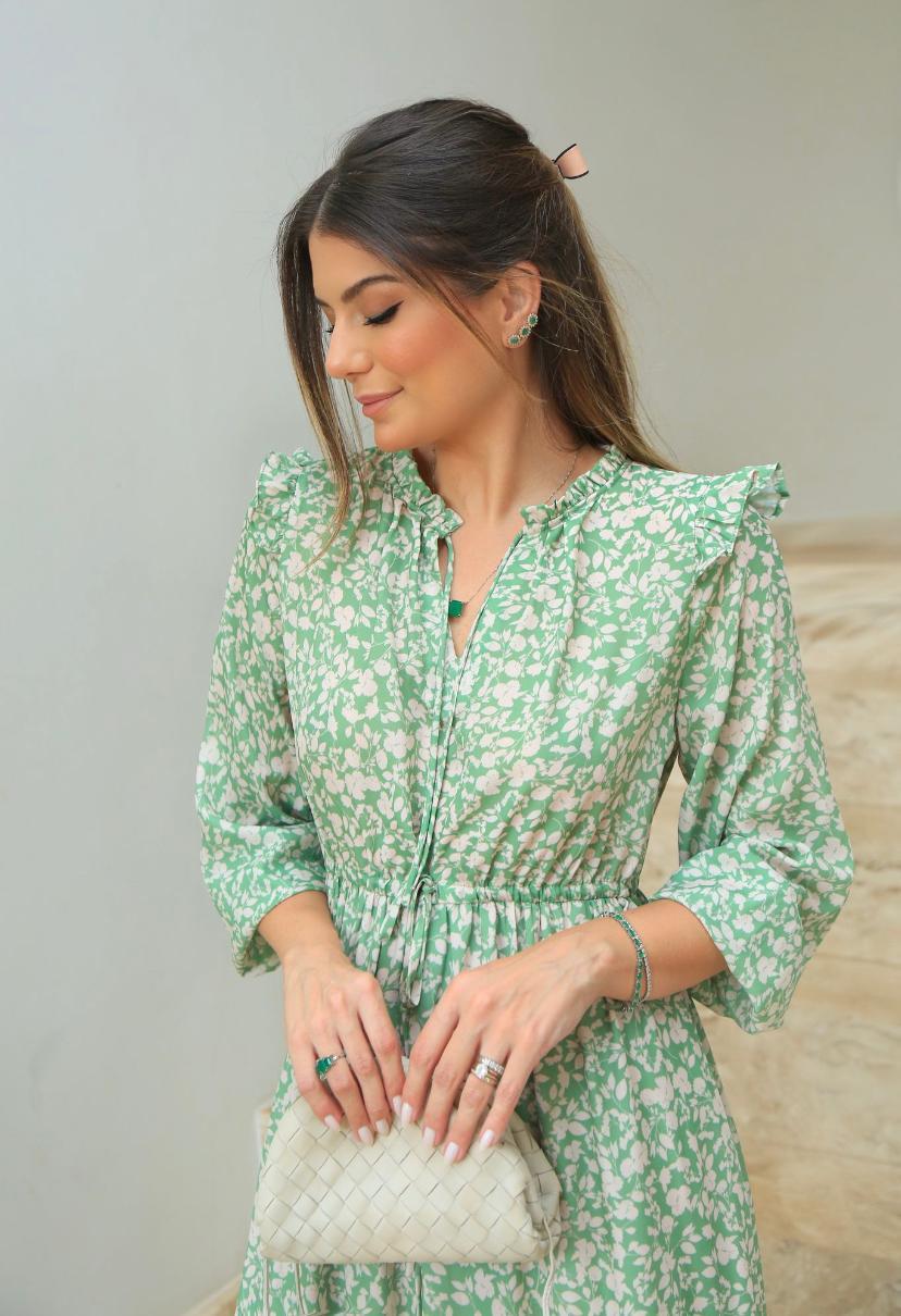 Vestido Ariane Crepe Longo Floral Babados