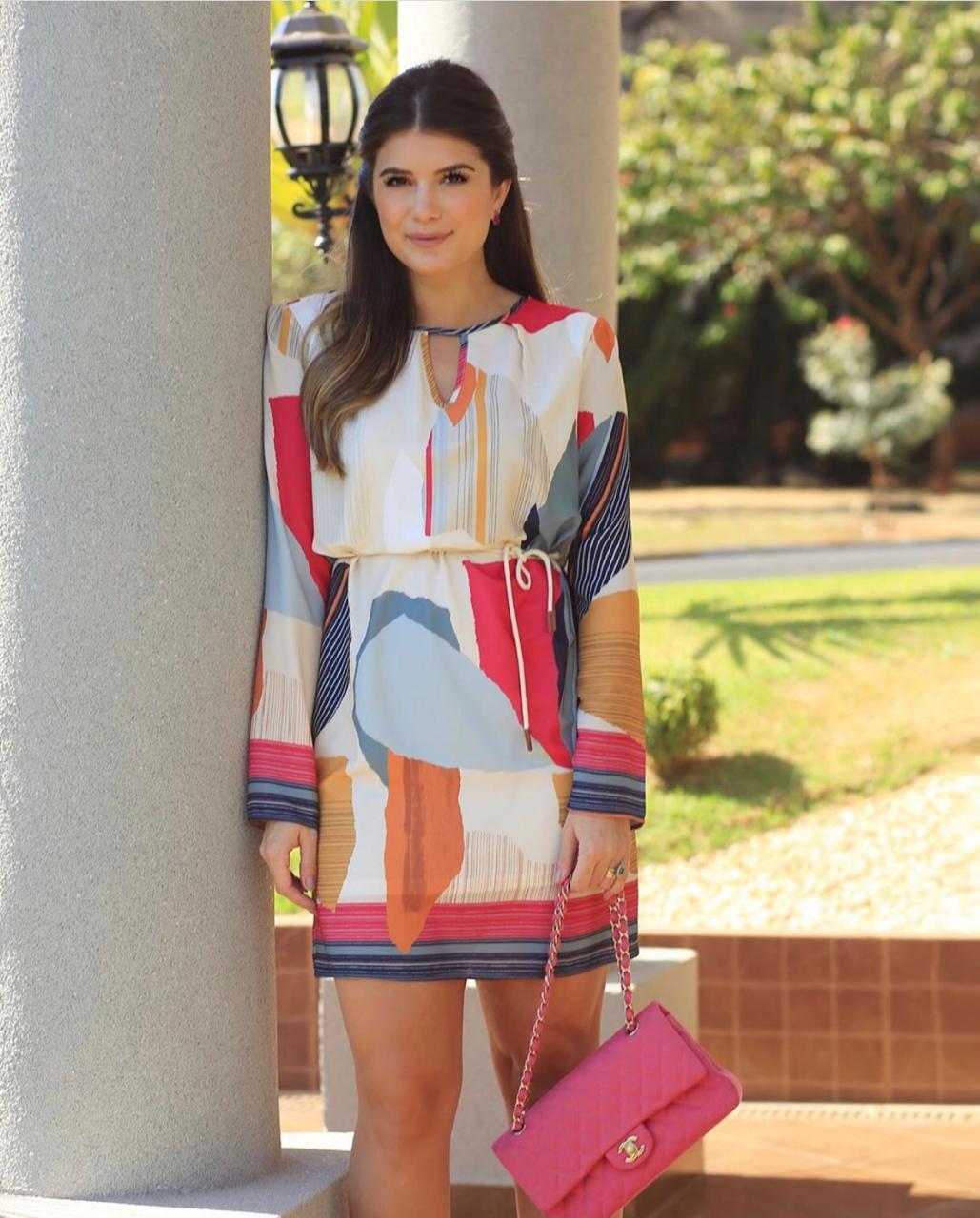 Vestido Ariane Midi Abstract Geometric + Cinto