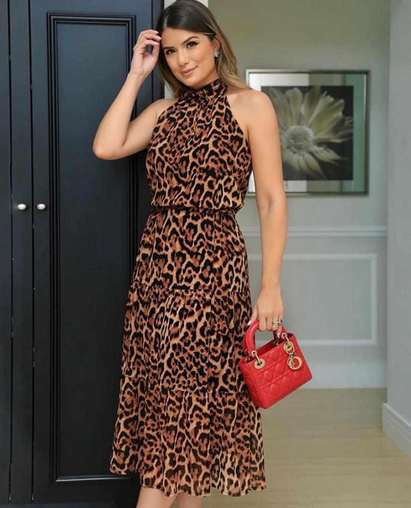 Vestido Ariane  Midi Animal Print