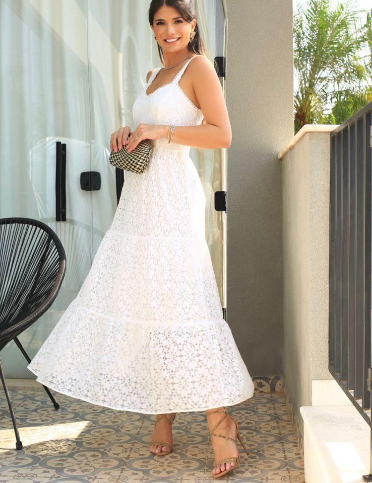 Vestido Ariane Renda Laise Detalhe Camadas